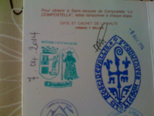 The First two Stamps - on the Left SJPdP & Right Roncesvalles