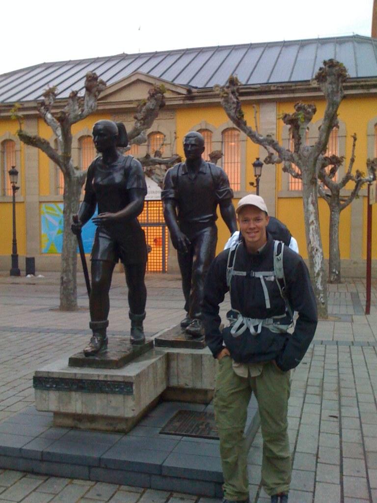 Happy Pilgrim in the Morning in Logrono